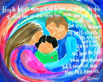 "Saving Us, 8""x10"" adoption print of an original illustrated watercolor poem"