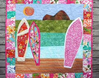 "Girls Surfboard Baby Quilt, approx. 41""x41"", Custom order"