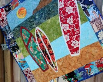 "Surfboard Baby Boy's Quilt, 41""x41"", Custom order"