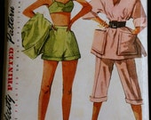 Reserved for Alison  Vintage Sewing Pattern 50s Misses Bra Shorts Pedal Pushers and  Beach Shirt Pattern  Simplicity 8480 Sz 18