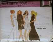 Vintage Sewing Patterns 70s Misses Evening Gown or Special Occasion Dress Pattern McCalls 3396 Sz 14