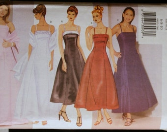 Butterick 6405 Misses Evening Gown and Special Occasion Dress and Stole Pattern Sz 6-8-10