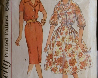 Vintage 50s Sewing Pattern Misses Dress with Two Skirts Simplicity 3009 Sz 14.5