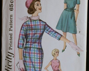 Vintage Sewing Pattern 60s Misses Dress with 2 Skirts MAD MEN Style Simplicity 4032 Sz 15
