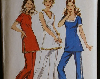 Vintage 70s Sewing Pattern Misses Tunic with Three Necklines and Pants Simplicity 9921  Sz 12
