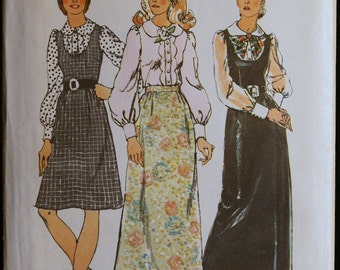 Vintage Sewing Pattern 70s Misses Jumper Skirt and Blouse Simplicity 5354  Sz 12