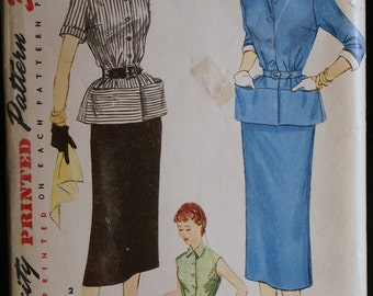Vintage 1950s Sewing Pattern Womens Two Piece Suit Dress Pattern Simplicity 4525 Size 15