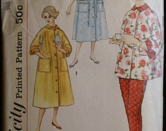 Vintage 60s Sewing Pattern Misses Lounging Pajama and Robe Pattern Simplicity 2310 Sz 12