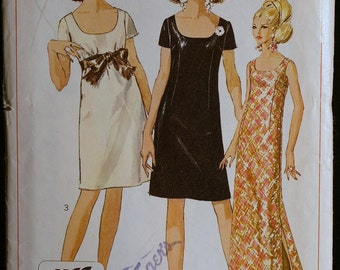 60s Vintage Sewing Pattern Misses Jiffy Special Occasion Dress in Two Lengths Simplicity 7384 Sz 14