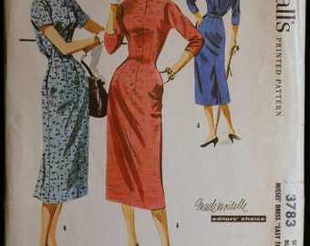 Vintage Sewing Patterns 1950s Womens Two Piece Wiggle Dress Pattern McCalls 3783 Size 14