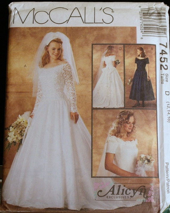 Wedding dress pattern or bridesmaid dress mccalls 7452 sz 12 for Wedding dress patterns mccalls