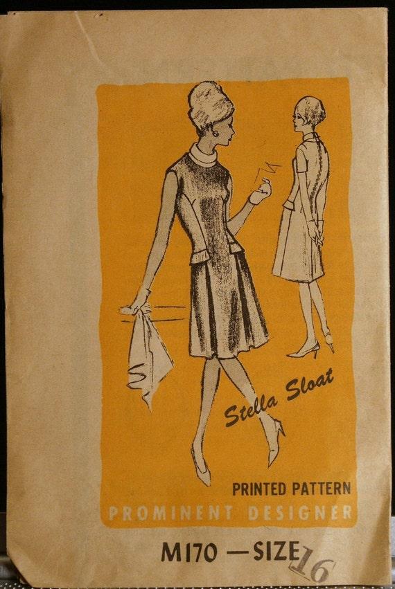 Vintage 60s Sewing Pattern Prominent Designer M170 Dress Pattern Stella Sloat  Size 16