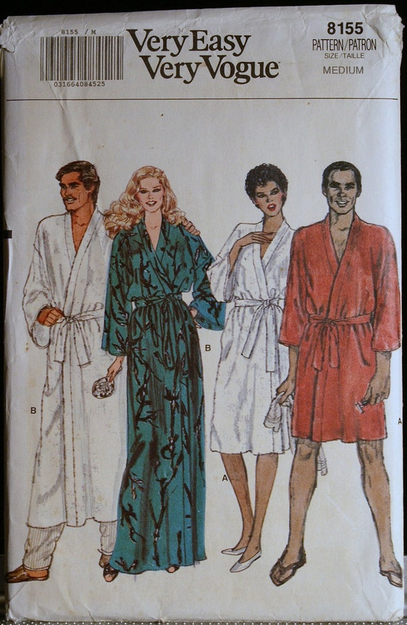 Sewing Pattern Misses and Mens Robe Pattern Vogue 8155 Sz med