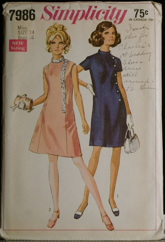 Simplicity 7986 Misses Princess Seamed Dress Pattern 60s Vintage Sewing Pattern Sz 14