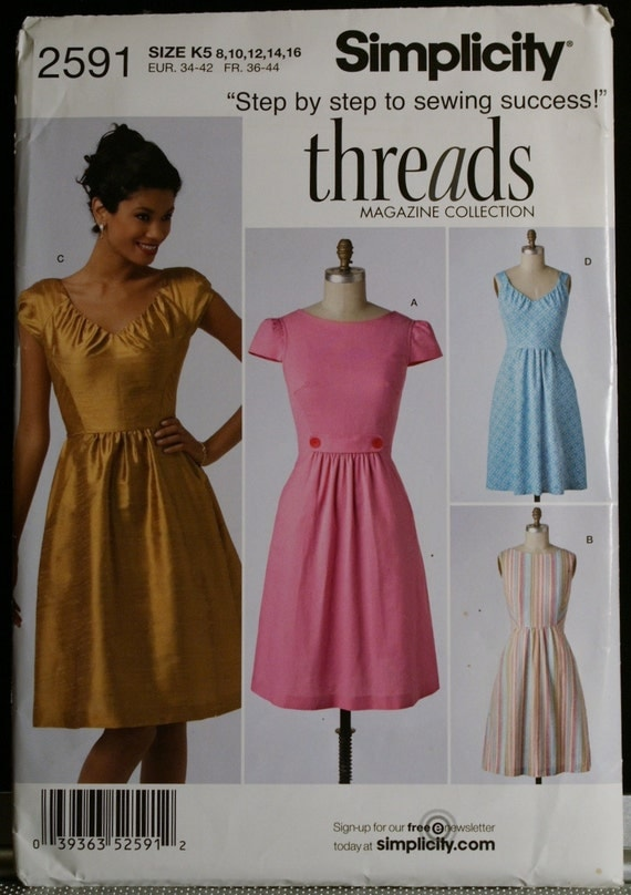 Simplicity 2591 Misses Dress with Bodice Variations Sewing Pattern Threads Magazine Collection Sz 8-16