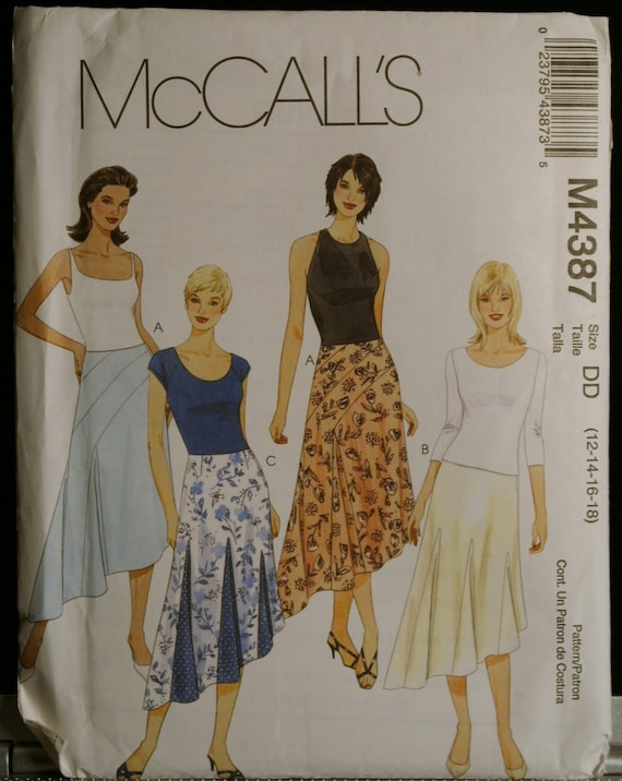 McCalls 4387 Misses Asymmetrical Skirt Sewing Pattern Size 12 to 18