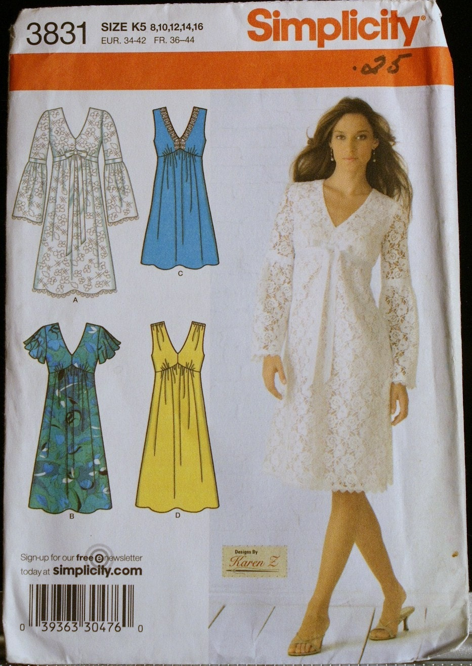 Romantic Dress Pattern Misses Simplicity 3831 Sz 8-16