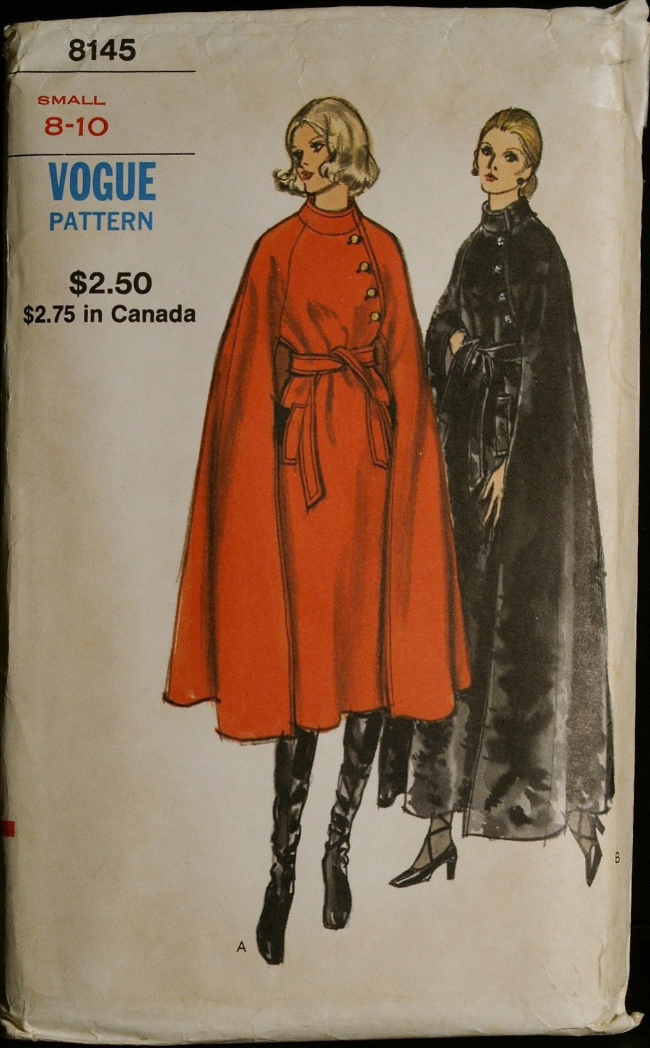 Vintage 60s Sewing Pattern Womens Elegant Cape Coat Pattern