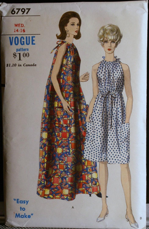 Vogue 6797 Vintage 60s Sewing Pattern Misses Dress Or Muu Muu