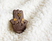 Judaica Gift Large Brown Hamsa Magnet golden flowers Polymer clay Israel