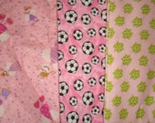 LIMITED STOCK - Girls Fabric - 2 Yards 2 Patterns - Blanket - PJs - Wash cloths - Holidays Christmas Gift - Pink