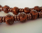 Autumn Flowers Polymer Clay Bead Necklace