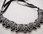 Black and White Ribbon Necklace