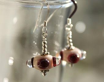 Dangle Pale Pink Glass Earrings, Lampwork Jewelry, Sterling Silver, Pink, Glass, Jewelry, Lampwork earrings, Bead Earrings, Dangle