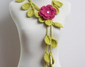 Crocheted Lime Green Leaf Necklace/Lariat with Pink Flower Brooch