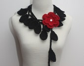 Crocheted Black Leaf Necklace/Lariat with Red Flower Brooch