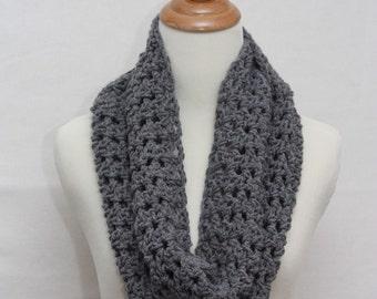 Heather Grey Infinity Crocheted Scarf