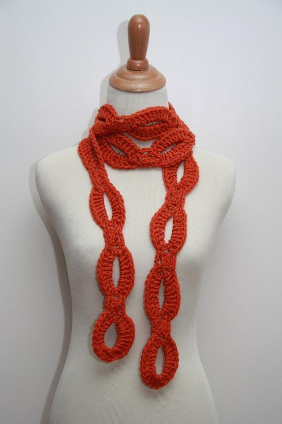 Orange Crocheted Loopy Scarf