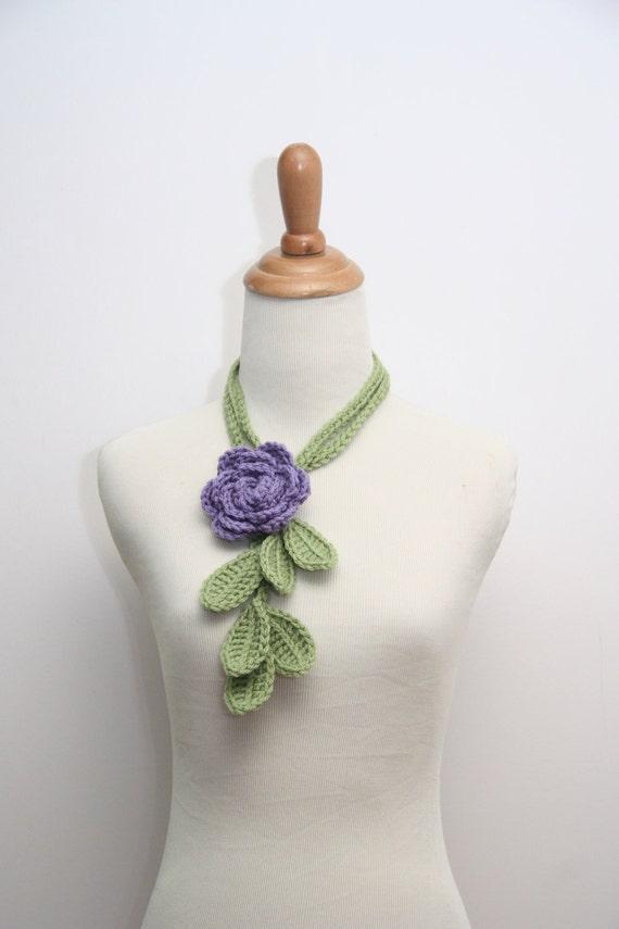 Fern Green Skinny Leaf Lariat with Purple Rose Brooch