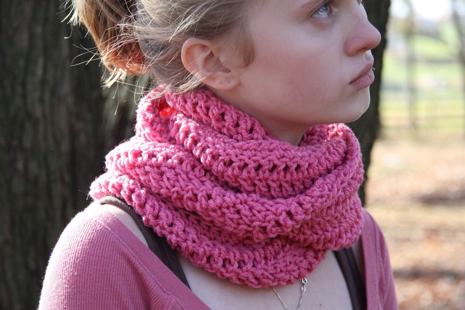 Pink Crocheted Eternity Cowl Neck Scarf by HandmadeByLarrie Cowl Neck Scarves Crochet