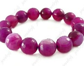 10mm faceted agate round stone beads bracelet Elastic Cord