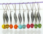 Special Offer Wholesale Turquoise Sugar Skull dangle earrings 10 pairs