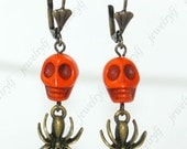 Special offers Day of the Dead turquoise Sugar Skull and Spiders angle earrings 12mm