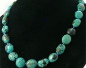 Fahsion natural turquoise beads necklace knotted 17inch