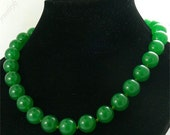 Single 14mm green jade beads necklace ,jasper ,stone beads necklace jewelry  knotted 17inch