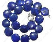 6pcs 20mm lapis lazuli coin gemstone beads necklace
