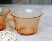 Two Amber Depressionware Teacups