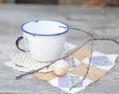 Petite Enamel Cup, Blue and White, Made in Sweden