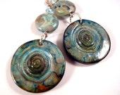Polymer Clay Earrings Blue Crazy Lace Agate Clay Jewelry Gemstone Jewelry Beaded Jewelry Blue Jewelry