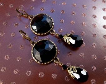 Black Crystal EarringsTeardrop Brass Earrings Brass Jewelry Crystal Jewelry