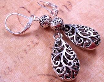 Silver Earrings Teardrop Earrings Filigree Earrings Metal Earrings Silver Jewelry Metal Jewelry Beaded Earrings Beaded Jewelry Dangles
