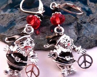 Christmas Earrings Christmas Jewelry Holiday Jewelry Beaded Jewelry Black Jewelry Enamel JewelryPeace Sign Earrings Santa Earrings