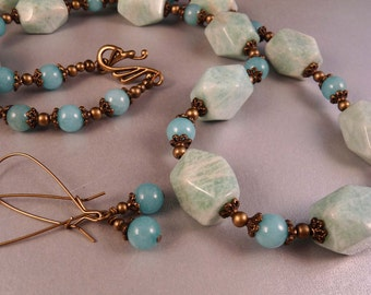Gemstone Necklace Amazonite Beaded Necklace Gemstone Jewelry Aquamarine Beaded Jewelry