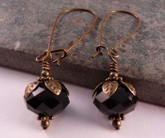 Black Crystal Earrings Brass Jewelry Brass Earrings Crystal Jewelry Beaded Earrings Beaded Jewelry Black Jewelry