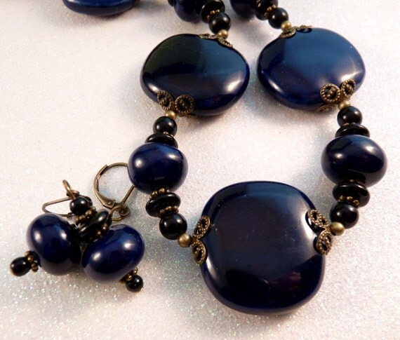 Porcelain Necklace Navy Beaded Necklace Beaded Jewelry Porcelain Jewelry