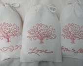 Tree  Love, Scroll, Bee  4x6 Cotton Muslin Drawstring Bags for gift, wedding, shower, favor, party,...